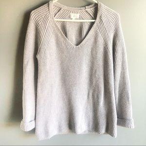 Lou & Grey Lavender V Neck Heavy Knit Sweater